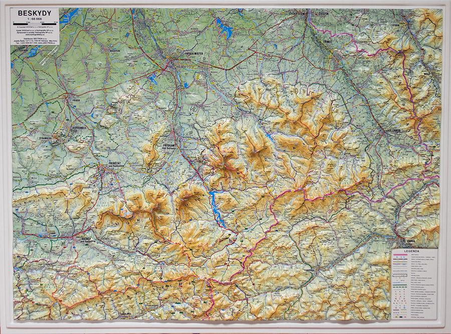Plasticka Nastenna Mapa Beskyd V Meritku 1 66 666 Esectron Cz